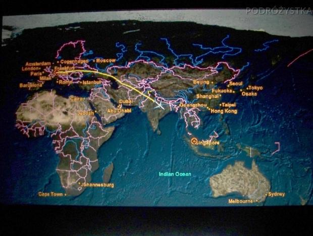 W samolocie Singapore Airlines, kontrola lotu