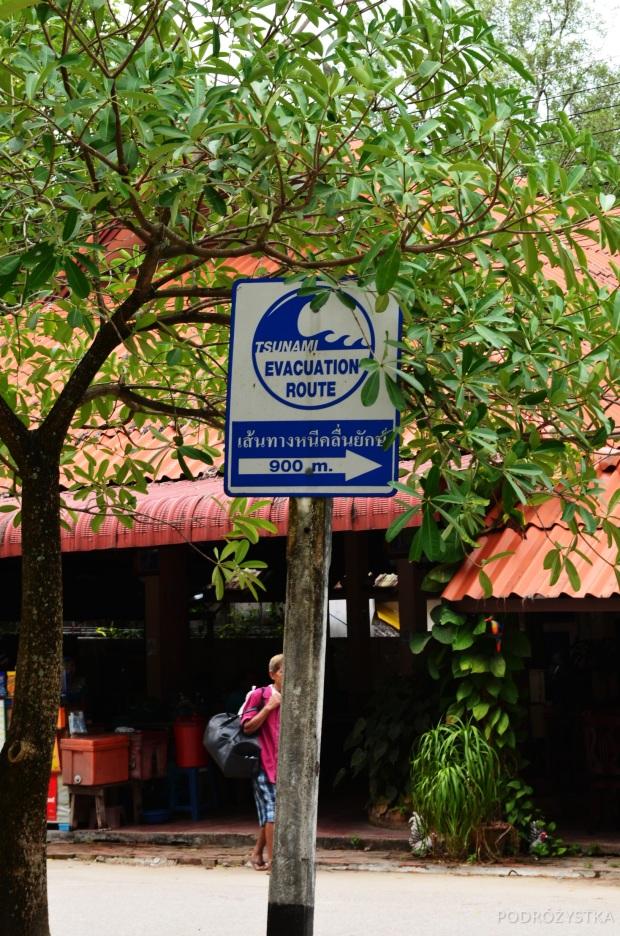 Tajlandia, Krabi, droga ewakuacyjna na wypadek tsunami