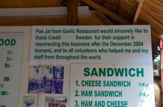 Tajlandia, wyspa Phi Phi, podziękowanie za pomoc po tsunami