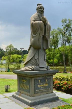 Singapur, Chinese and Japanese Garden - Ogród Chiński i Japoński - posąg Konfucjusza