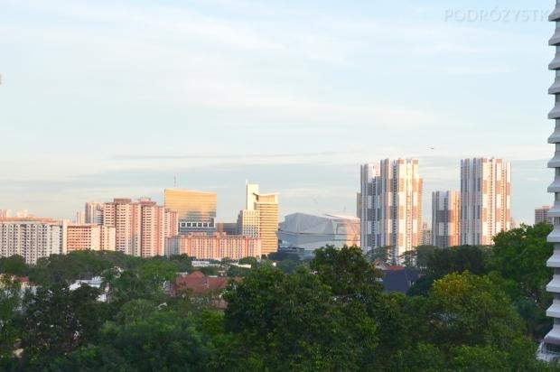 Singapur, widok z tego samego okna bez zanieczyszczenia powietrza