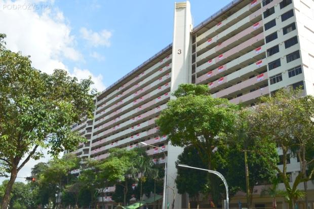Singapur, okolice Ghim Moh market, bloki przystrojone flagami