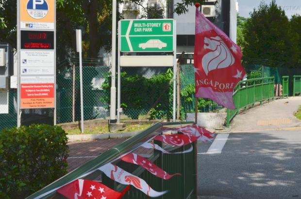 Singapur, okolice Ghim Moh market, dekoracje na święto niepodległości