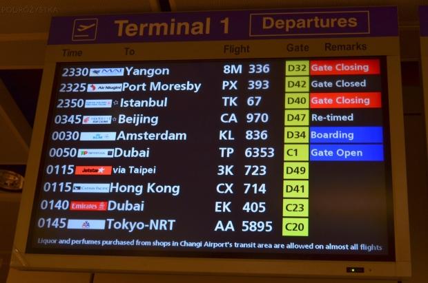 Singapur, lotnisko Changi, zamiast o 0:15 to o 3:45