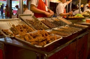 Chiny, Pekin, Night Market na Donghuamen Street, pieczone rozgwiazdy, węże, karaluchy