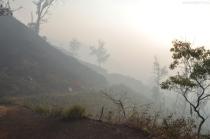 Indonezja, wyspa Java, wulkan Ijen, świt nad pogorzeliskiem