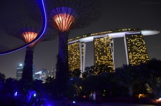 Singapur, Gardens by the Bay, Flower Dome, Supertrees i Marina Bay Sands Hotel