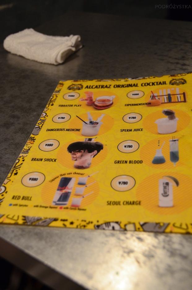 Japonia, Tokio, Alcatraz E.R., menu niecodziennych drinków w równie oryginalnych naczyniach