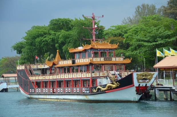 Singapur, wyspa Kusu, stylowy statek