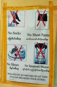 Birma (Mjanma), Sagaing, U Min Thonze, zasady dotyczące ubioru w świątyni