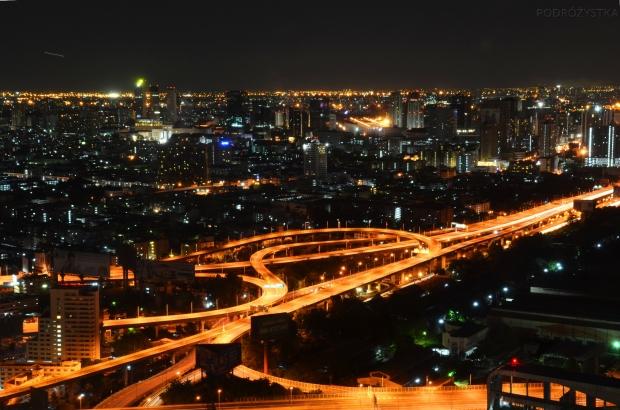 Tajlandia, Bangkok, Baiyoke Sky Hotel, nocny widok z pokoju