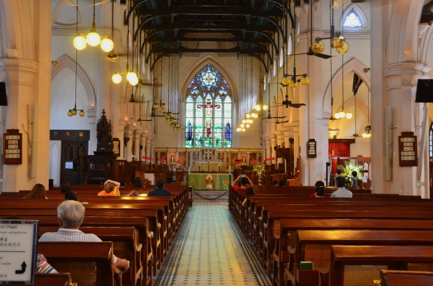 Chiny, Hongkong, wnętrze St John's Cathedral - Katedry św. Jana