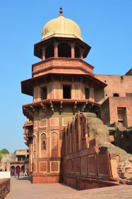 Indie, Agra, Agra Fort, Akbari Mahal - ruiny Pałacu Akbara