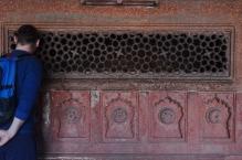 Indie, Agra, Agra Fort, akuku! Zdobienia na ścianie Jehangiri Mahal