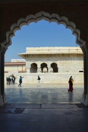 Indie, Agra, Agra Fort, widok z Bangla-I-Jahanari