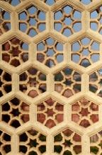 Indie, Agra, Agra Fort, zdobienia na balkonie Khas Mahal