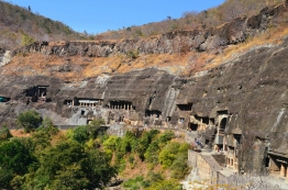 Indie, Maharasztra, okolice Aurangabad, jaskinie Ajanta